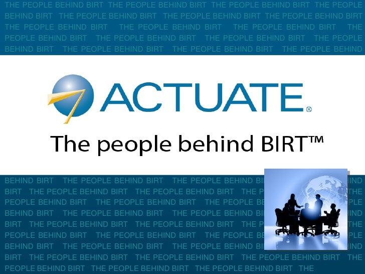 Actuate  BIRT dans tous ses états : Reporting, Interactif, Ad-hoc, Analytique 1/2 par Stephan Caracas
