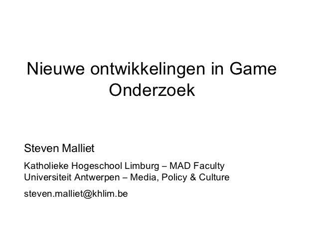 Actuele themas in game onderzoek