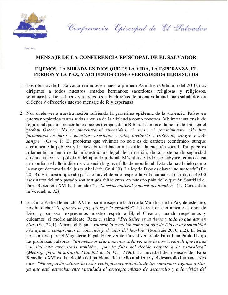 MENSAJE DE LA CONFERENCIA EPISCOPAL DE EL SALVADOR       FIJEMOS LA MIRADA EN DIOS QUE ES LA VIDA, LA ESPERANZA, EL       ...