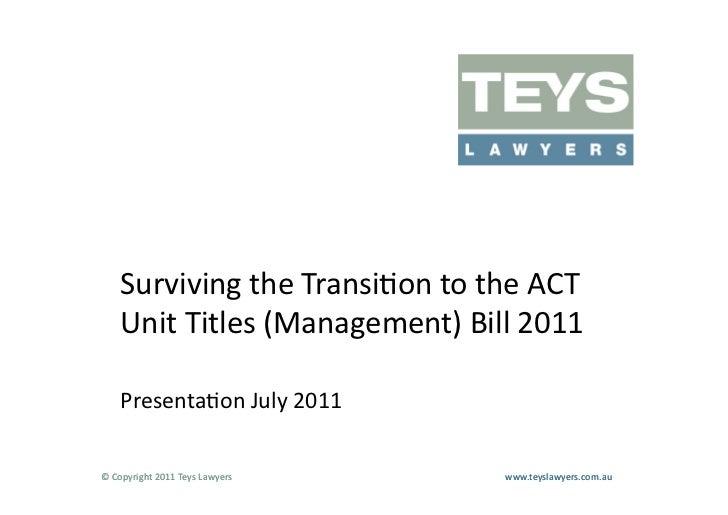 Act unit titles presentation