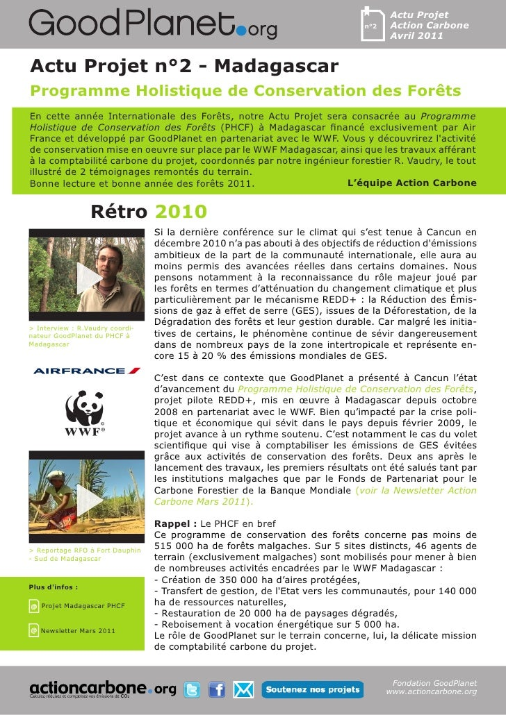 Actu Programme Holistique de Conservation des Forets via goodplanet
