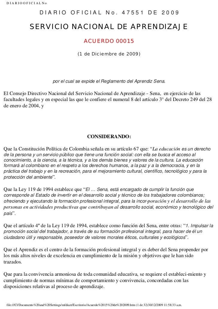 DIARIOOFICIALNo                       DIARIO OFICIAL No. 47551 DE 2009                SERVICIO NACIONAL DE APRENDIZAJE    ...