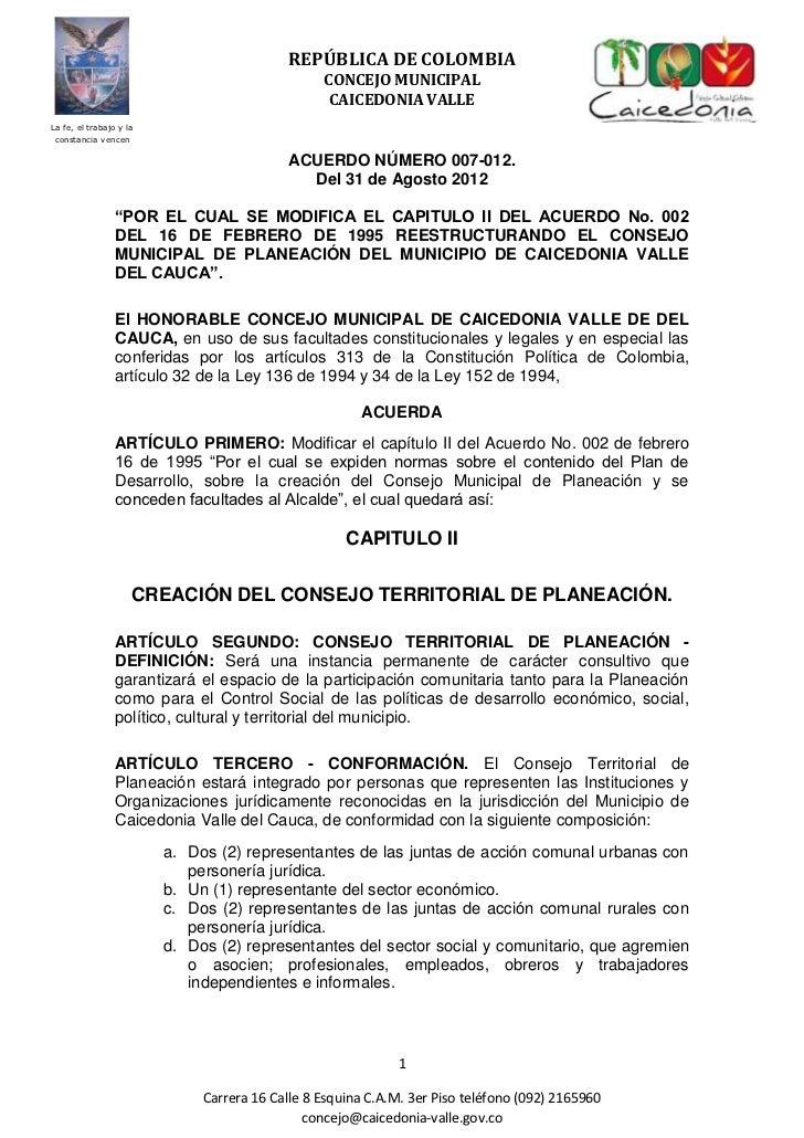 REPÚBLICA DE COLOMBIA                                                 CONCEJO MUNICIPAL                                   ...