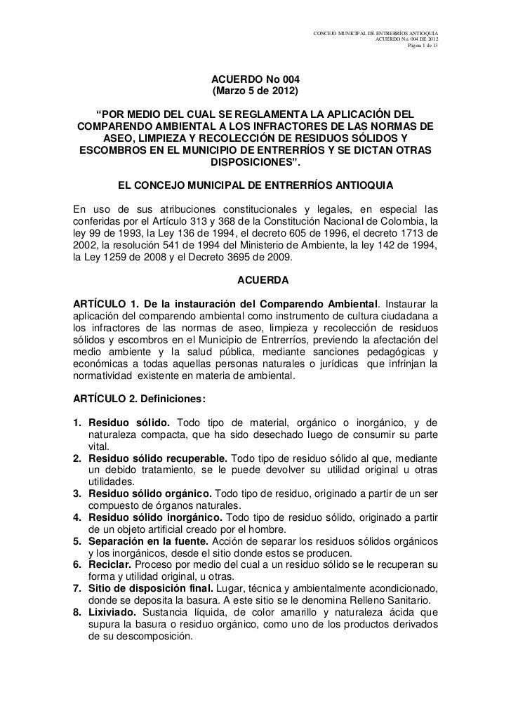 CONCEJO MUNICIPAL DE ENTRERRÍOS ANTIOQUIA                                                                         ACUERDO ...