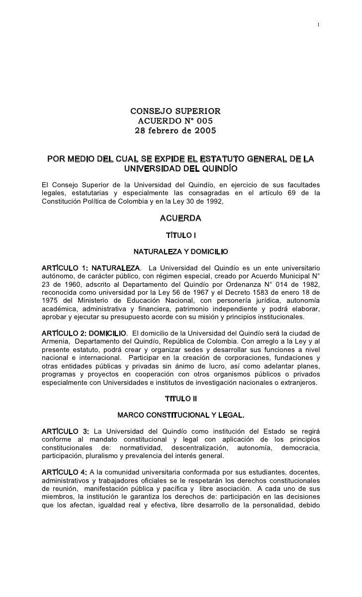 Acuerdo 005 estatutogeneraluniversidaddelquindio