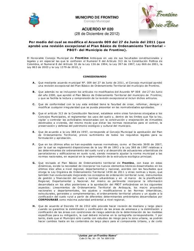 MUNICIPIO DE FRONTINO                                             Concejo Municipal                                       ...