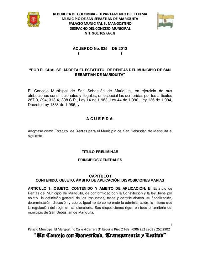 REPUBLICA DE COLOMBIA - DEPARTAMENTO DEL TOLIMA                     MUNICIPIO DE SAN SEBASTIAN DE MARIQUITA               ...