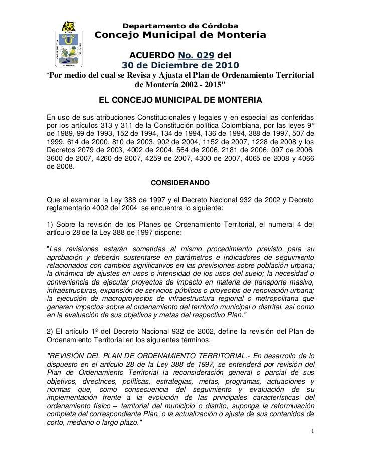 Departamento de Córdoba               Concejo Municipal de Montería                       ACUERDO No. 029 del             ...