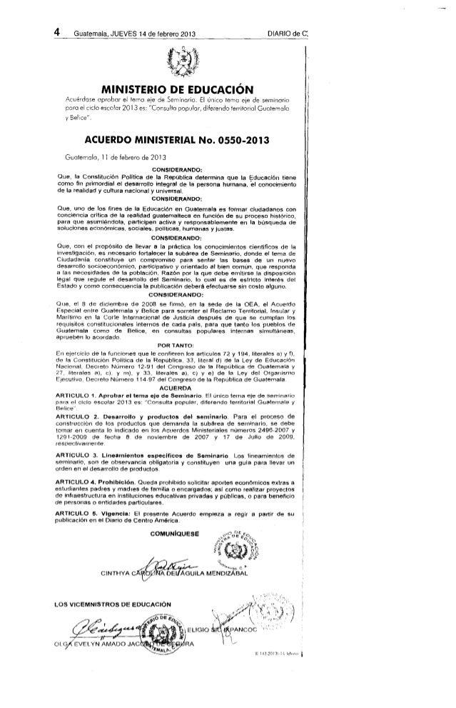Acuerdo Ministerial 0550-2013.  SEMINARIO