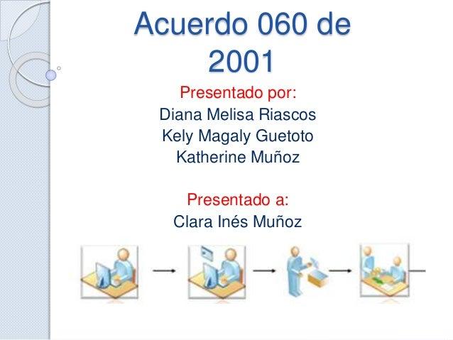 Acuerdo 060 de 2001 Presentado por: Diana Melisa Riascos Kely Magaly Guetoto Katherine Muñoz Presentado a: Clara Inés Muñoz