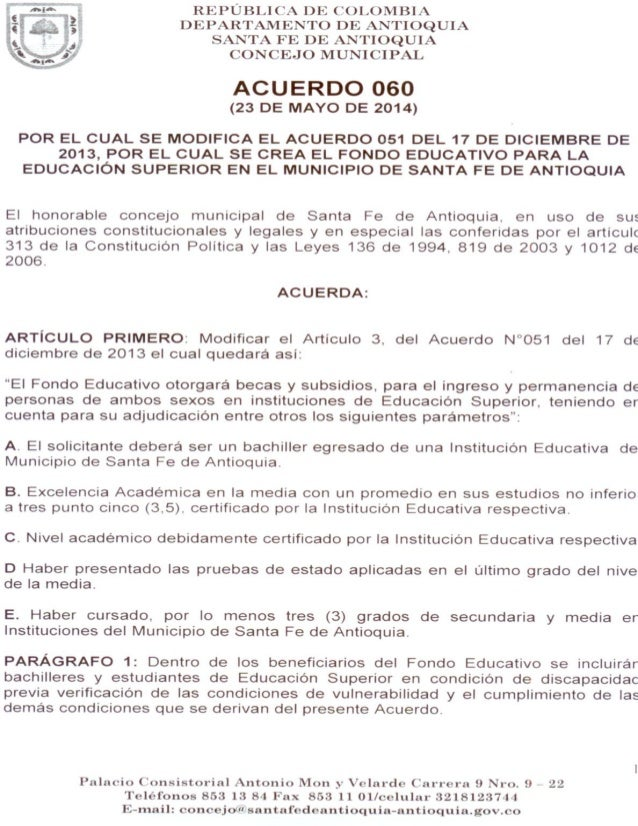 Acuerdo 060 sancionado