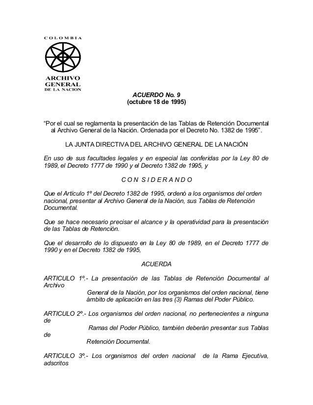 Acuerdo 09 de 1995, 08 de 1995 y 11 de 1996  circular 04 de 2003
