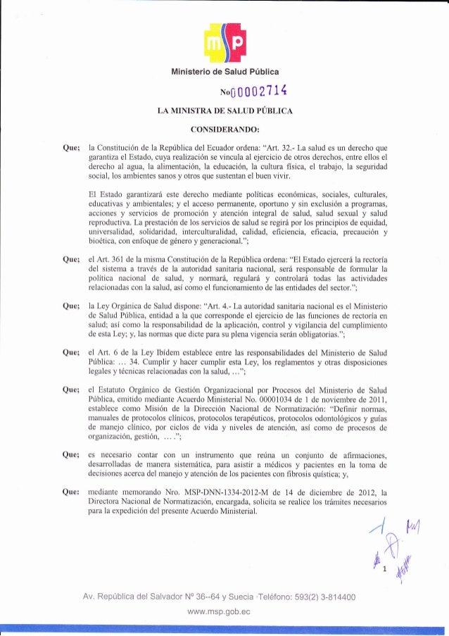 Fde SaludMinisterio Pública No00002111 LA MII{ISTRA DE SALUD PÚBLICA CONSIDERANDO: Que; la Constitución de la República de...
