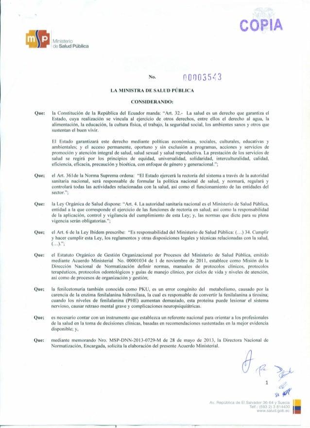 eo I Ministerio de Salud Pública No. n00035~3 LA MINISTRA DE SALUD PÚBLICA CONSIDERANDO: Que: la Constitución de la Repúbl...