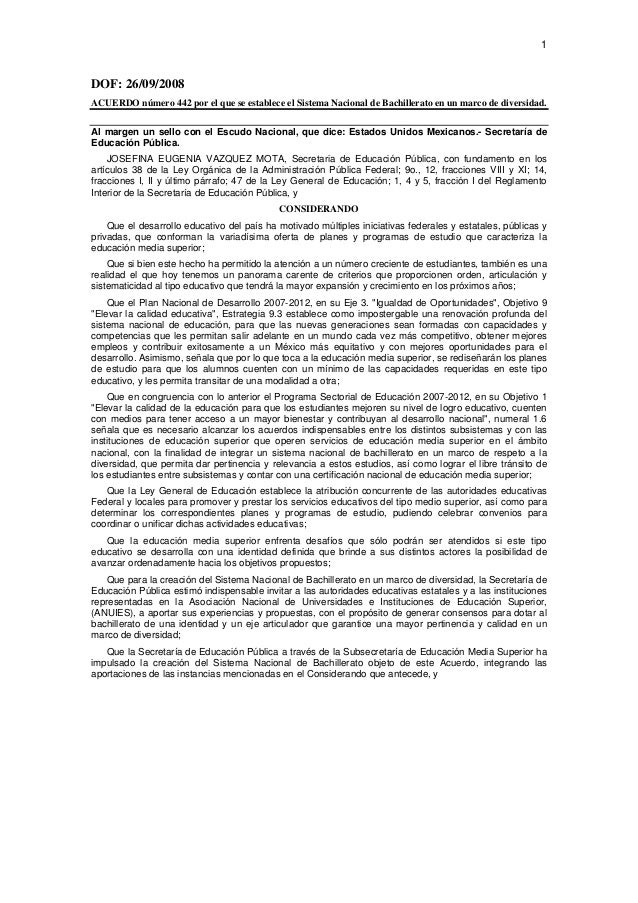 Acuerdo 442, sistema nacional de bachillerato