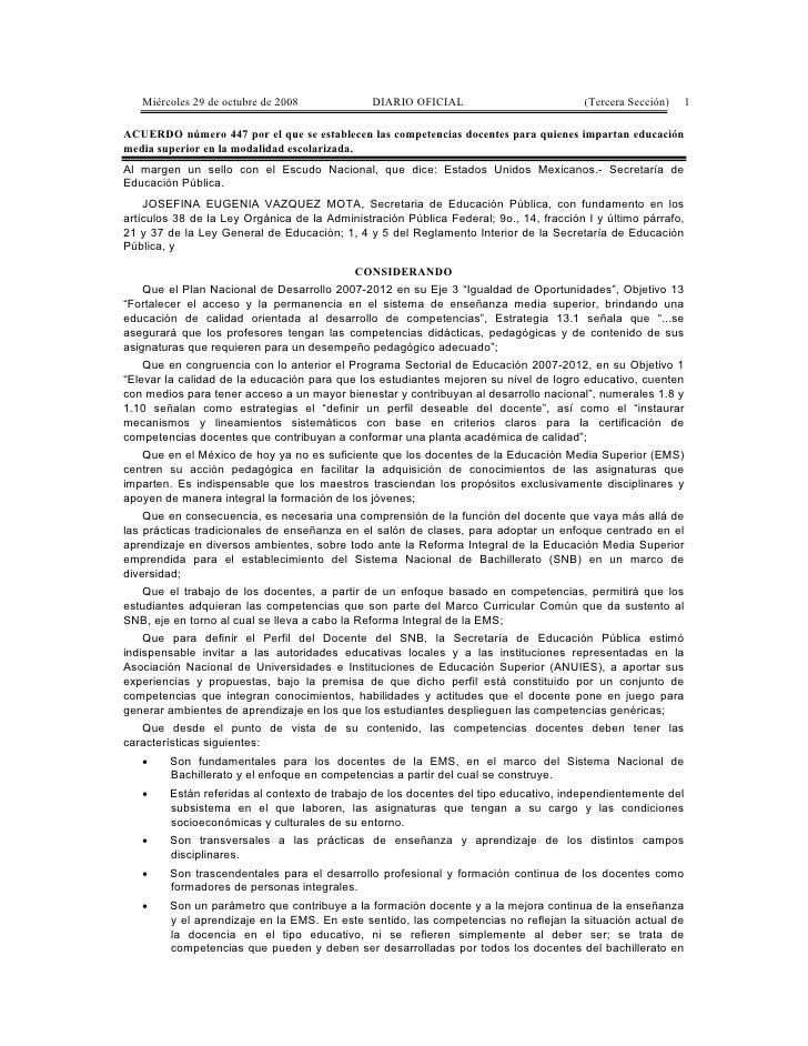 Miércoles 29 de octubre de 2008             DIARIO OFICIAL                          (Tercera Sección)   1  ACUERDO número ...