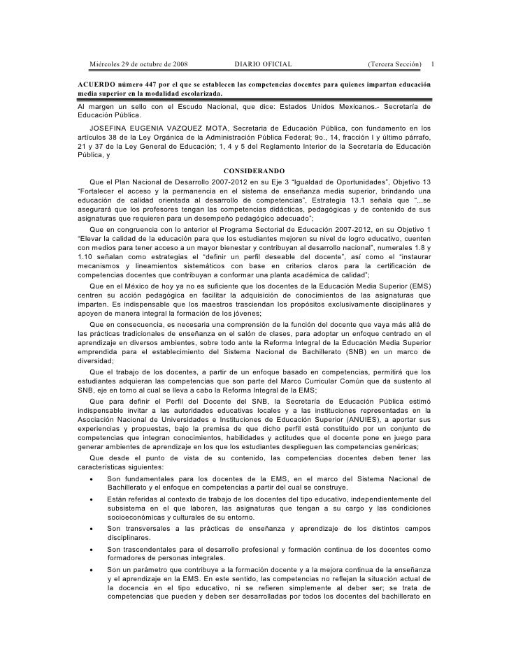Acuerdo 447 Competencias Docentes