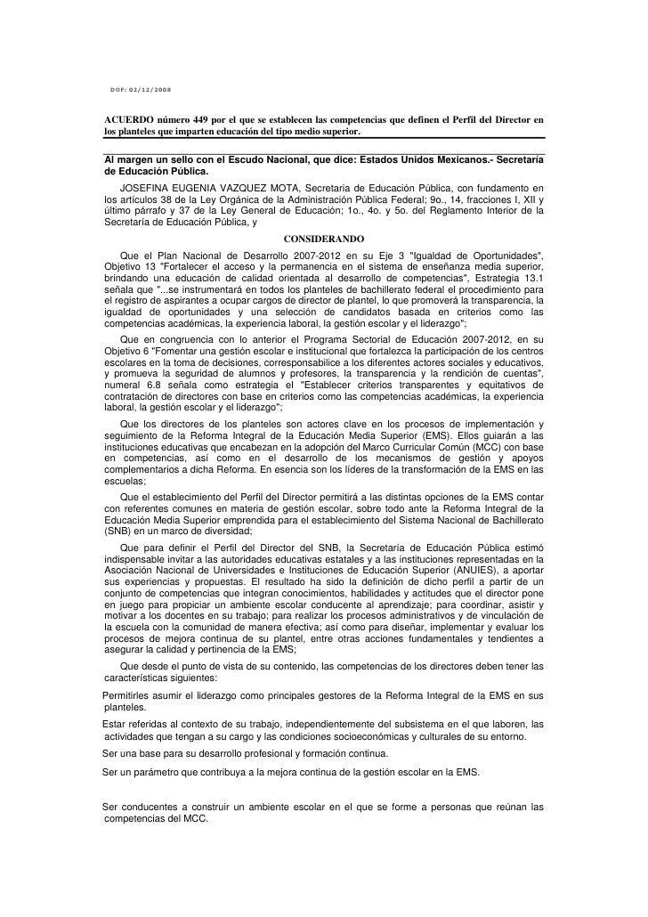 Acuerdo 449, por el que se establecen las competencias que definen el perfil del director en los planteles que imparten la educación media superior