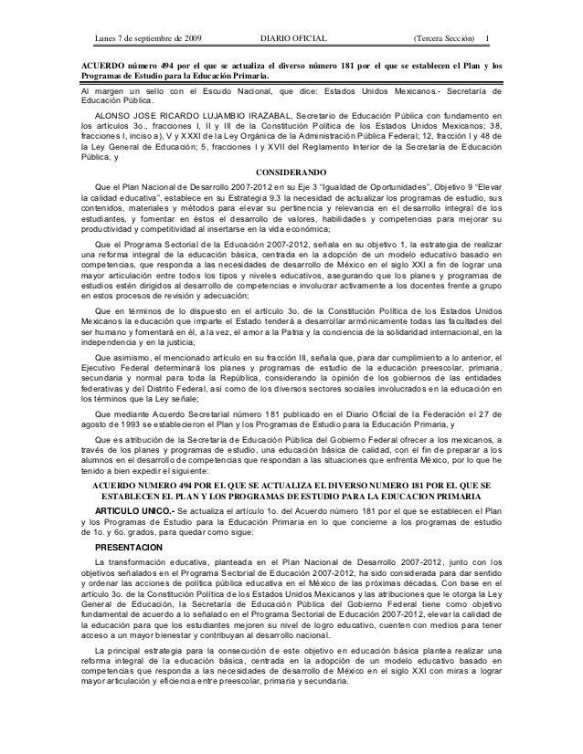 Lunes 7 de septiembre de 2009                DIARIO OFICIAL                            (Tercera Sección)   1ACUERDO número...