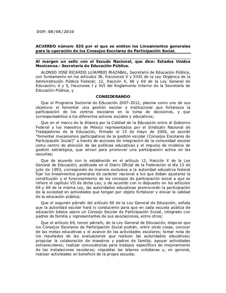 Acuerdo 535, Normatividad de los Consejos Escolares