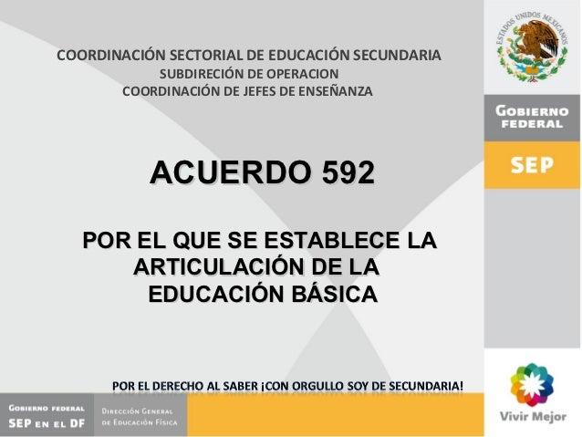COORDINACIÓN SECTORIAL DE EDUCACIÓN SECUNDARIA           SUBDIRECIÓN DE OPERACION       COORDINACIÓN DE JEFES DE ENSEÑANZA...