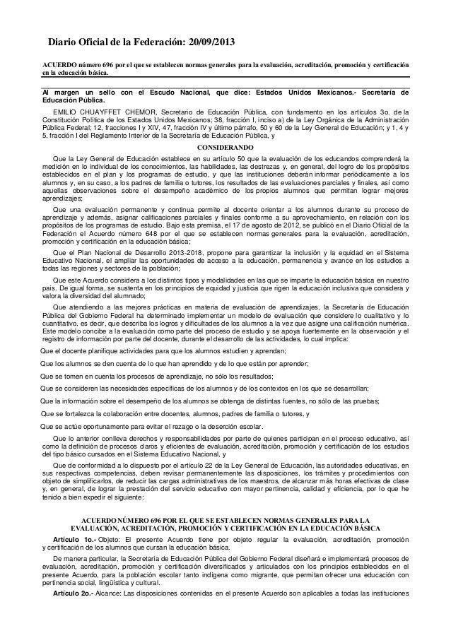 Diario Oficial de la Federación: 20/09/2013 ACUERDO número 696 por el que se establecen normas generales para la evaluació...