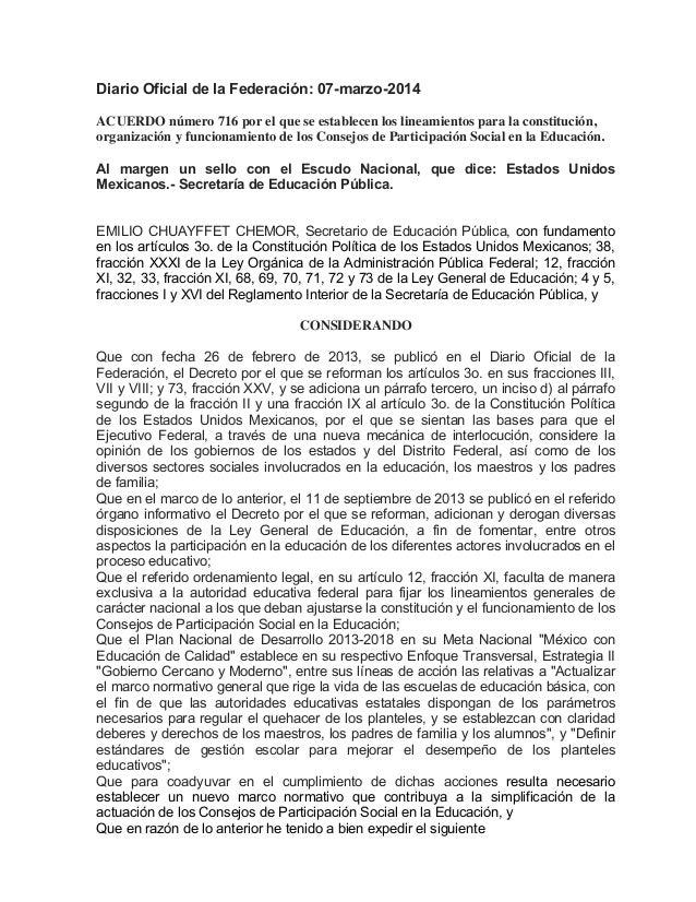 Diario Oficial de la Federación: 07-marzo-2014 ACUERDO número 716 por el que se establecen los lineamientos para la consti...