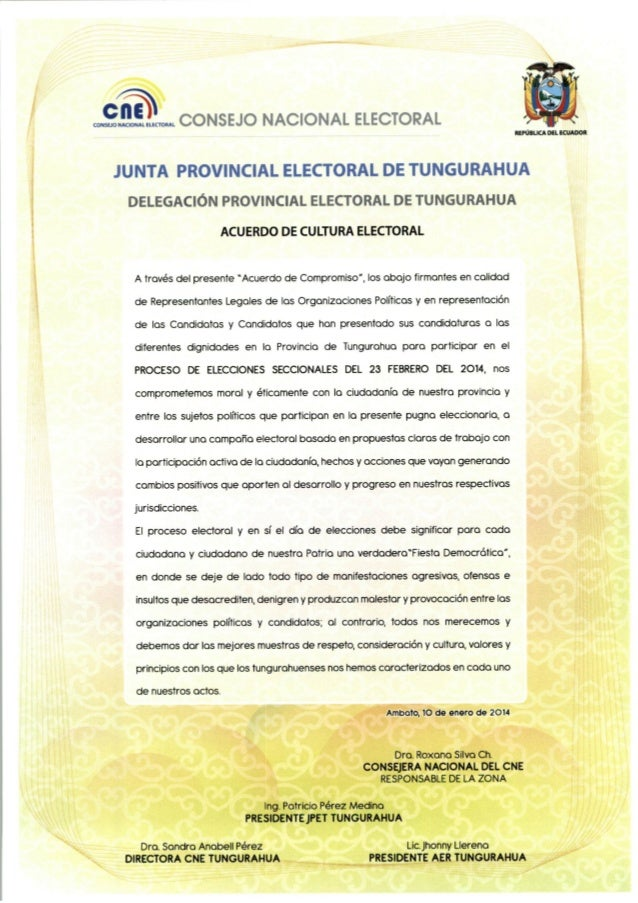 Acuerdo Organizaciones Políticas de Tungurahua por una cultura electoral