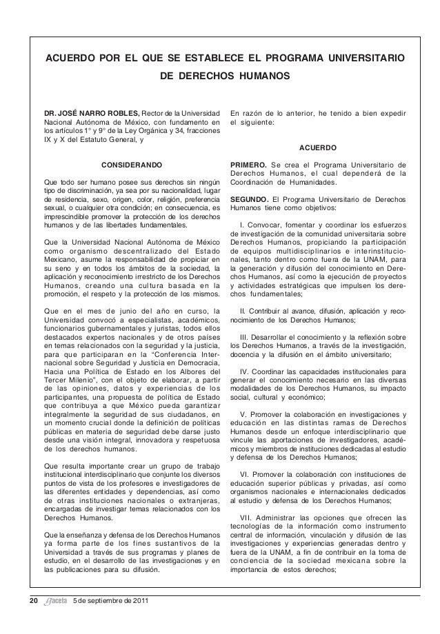 Acuerdo para la creacion del Programa Universitario de Derechos Humanos PUDH