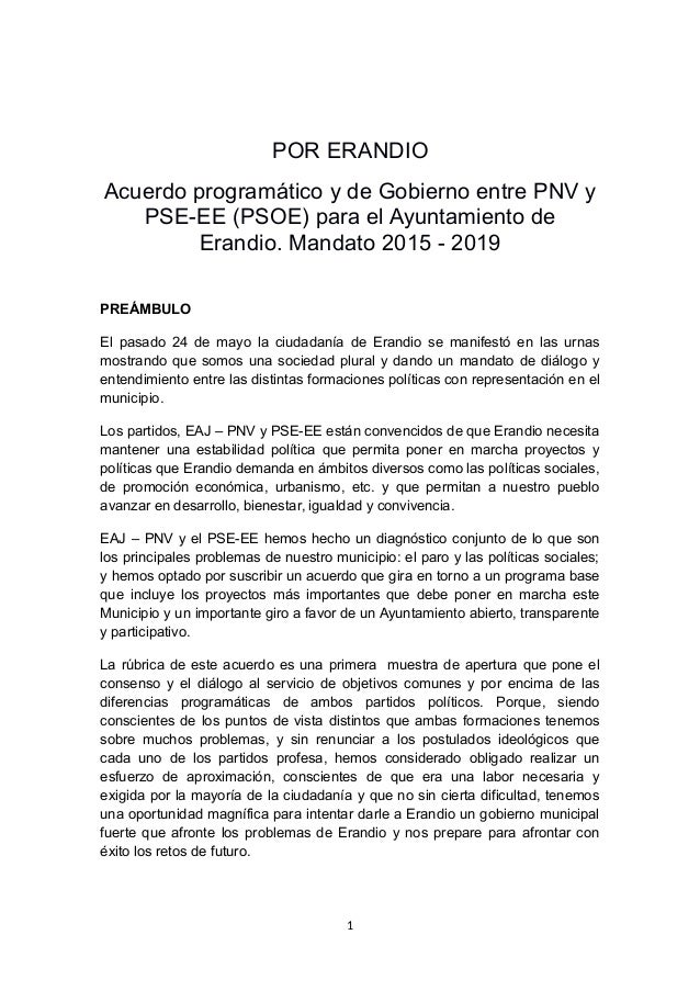 POR ERANDIO Acuerdo programático y de Gobierno entre PNV y PSE-EE (PSOE) para el Ayuntamiento de Erandio. Mandato 2015 - 2...