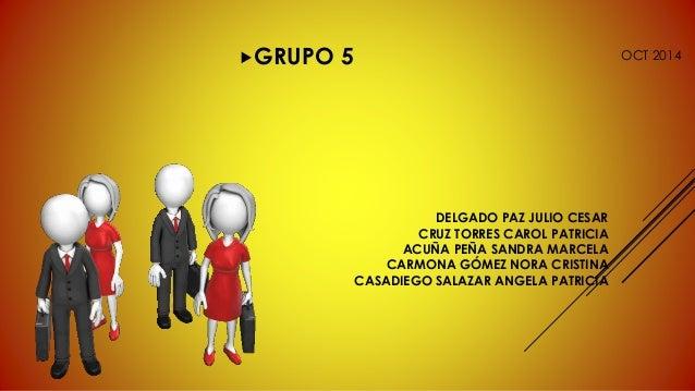 GRUPO 5 OCT 2014  DELGADO PAZ JULIO CESAR  CRUZ TORRES CAROL PATRICIA  ACUÑA PEÑA SANDRA MARCELA  CARMONA GÓMEZ NORA CRIS...