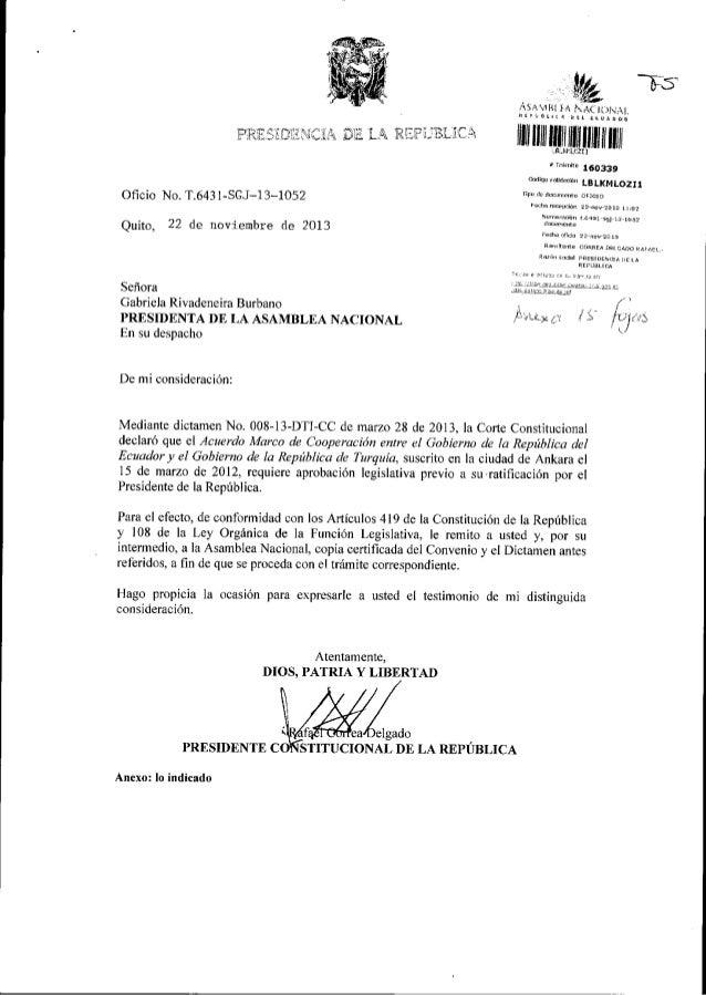 I?lF,ji:-{,i DiI ric lA DE LA R'!F i;'BI' JC itr Ofi cio No. T.643 1 -SGJ-13-1052 Quito, 22 de noviernbre de 2013 Señora G...