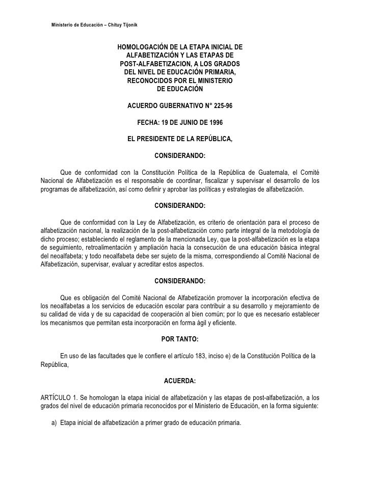 Ministerio de Educación – Chituy Tijonik                                      HOMOLOGACIÓN DE LA ETAPA INICIAL DE         ...