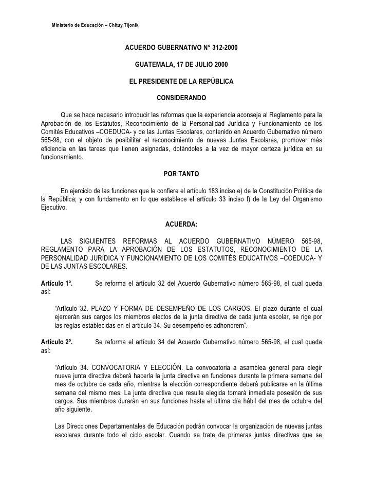 Acuerdo Gubernativo 312 2000