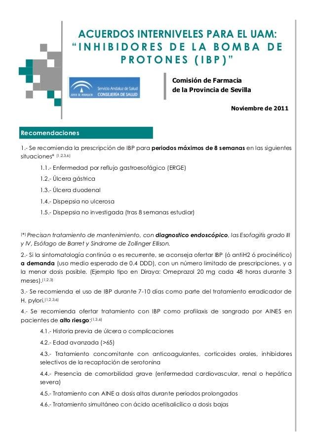 """ACUERDOS INTERNIVELES PARA EL UAM: """"INHIBIDORES DE LA BOMBA DE PROTONES (IBP)"""" Comisión de Farmacia de la Provincia de Sev..."""