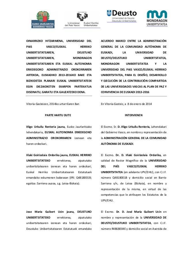 OINARRIZKO HITZARMENA, UNIVERSIDAD DEL  ACUERDO MARCO ENTRE LA ADMINISTRACIÓN  PAIS  GENERAL DE LA COMUNIDAD AUTÓNOMA DE  ...