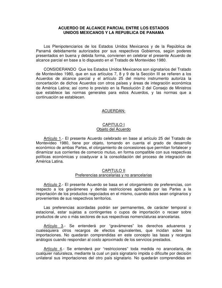 ACUERDO DE ALCANCE PARCIAL ENTRE LOS ESTADOS               UNIDOS MEXICANOS Y LA REPUBLICA DE PANAMA       Los Plenipotenc...