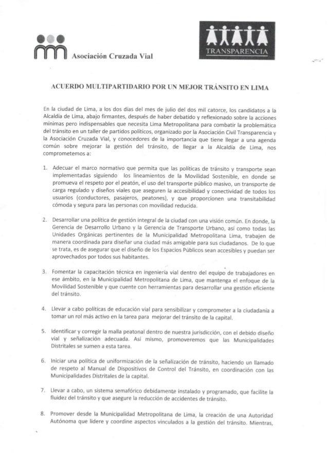 Acuerdo multipartidario por un mejor tránsito en Lima