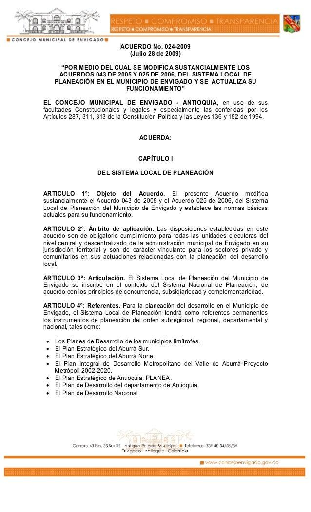 Acuerdo municipal 024 de 2009 slp