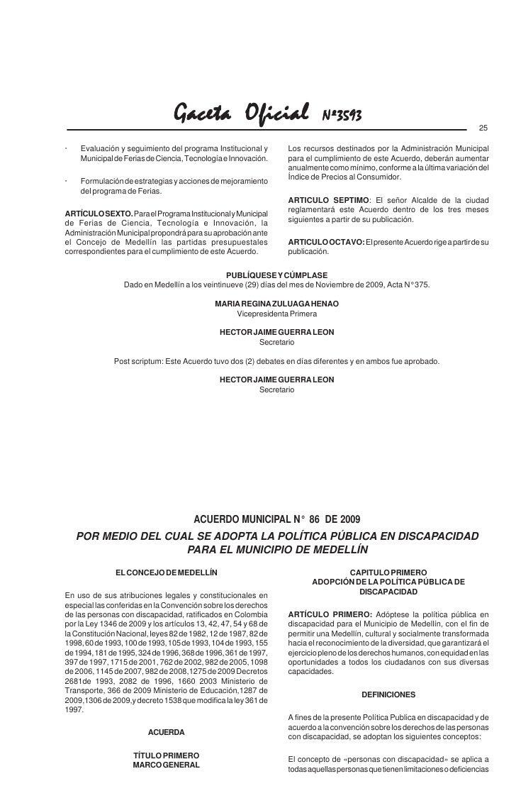 Acuerdo Municipal 86 De 2009
