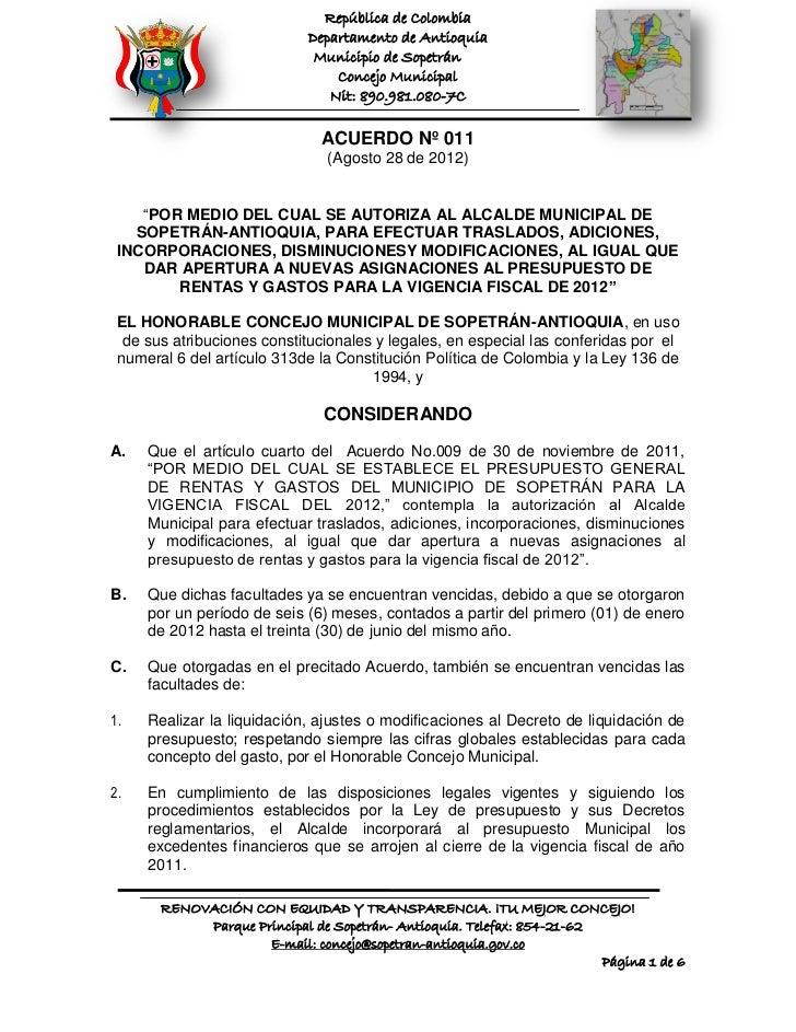 República de Colombia                            Departamento de Antioquia                             Municipio de Sopetr...