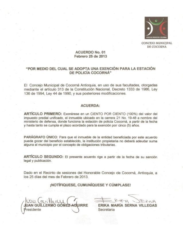 Acuerdo no. 01 de febrero 25 de 2013, exención estación de policía