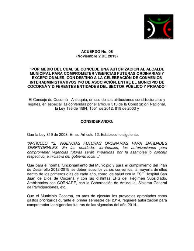 Acuerdo no. 08 de noviembre 2 de  2013  vigencias futuras