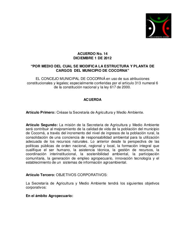 """ACUERDO No. 14                             DICIEMBRE 1 DE 2012   """"POR MEDIO DEL CUAL SE MODIFICA LA ESTRUCTURA Y PLANTA DE..."""