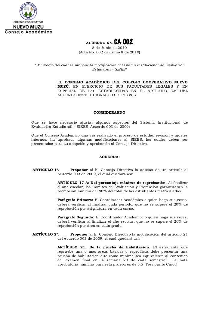 ACUERDO No.     CA 002                                 8 de Junio de 2010                          (Acta No. 002 de Junio ...