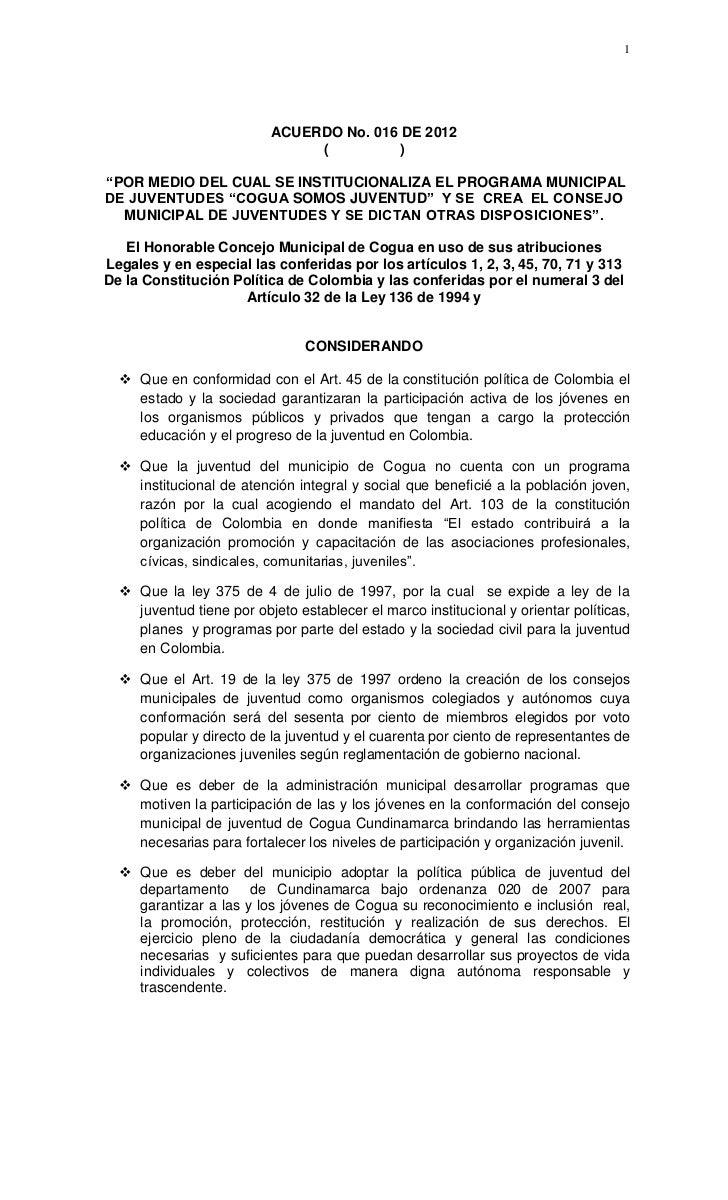 """1                          ACUERDO No. 016 DE 2012                               (         )""""POR MEDIO DEL CUAL SE INSTITU..."""