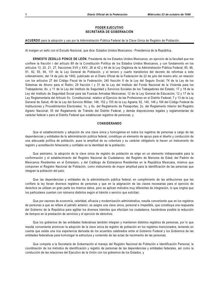 Acuerdo para la adopción y uso por la administración pública federal de la clave única de registro de población