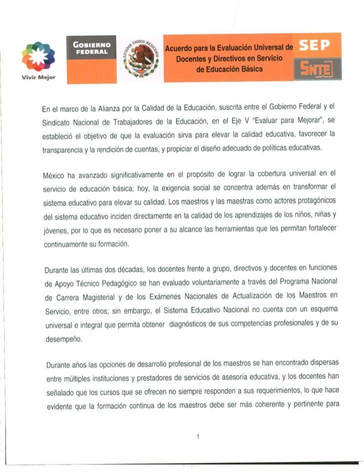 Acuerdo para la evaluación universal de docentes y directivos en servicio de educación básica
