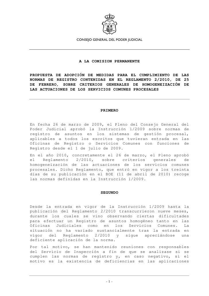 CONSEJO GENERAL DEL PODER JUDICIAL                   A LA COMISION PERMANENTEPROPUESTA DE ADOPCIÓN DE MEDIDAS PARA EL CUMP...