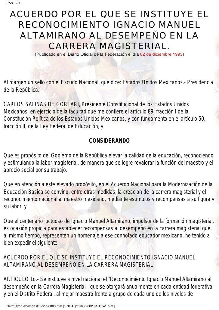 Acuerdo por el que se instituye el reconocimiento Ignacio Manuel Altamirano al desempeño en la carrera magisterial